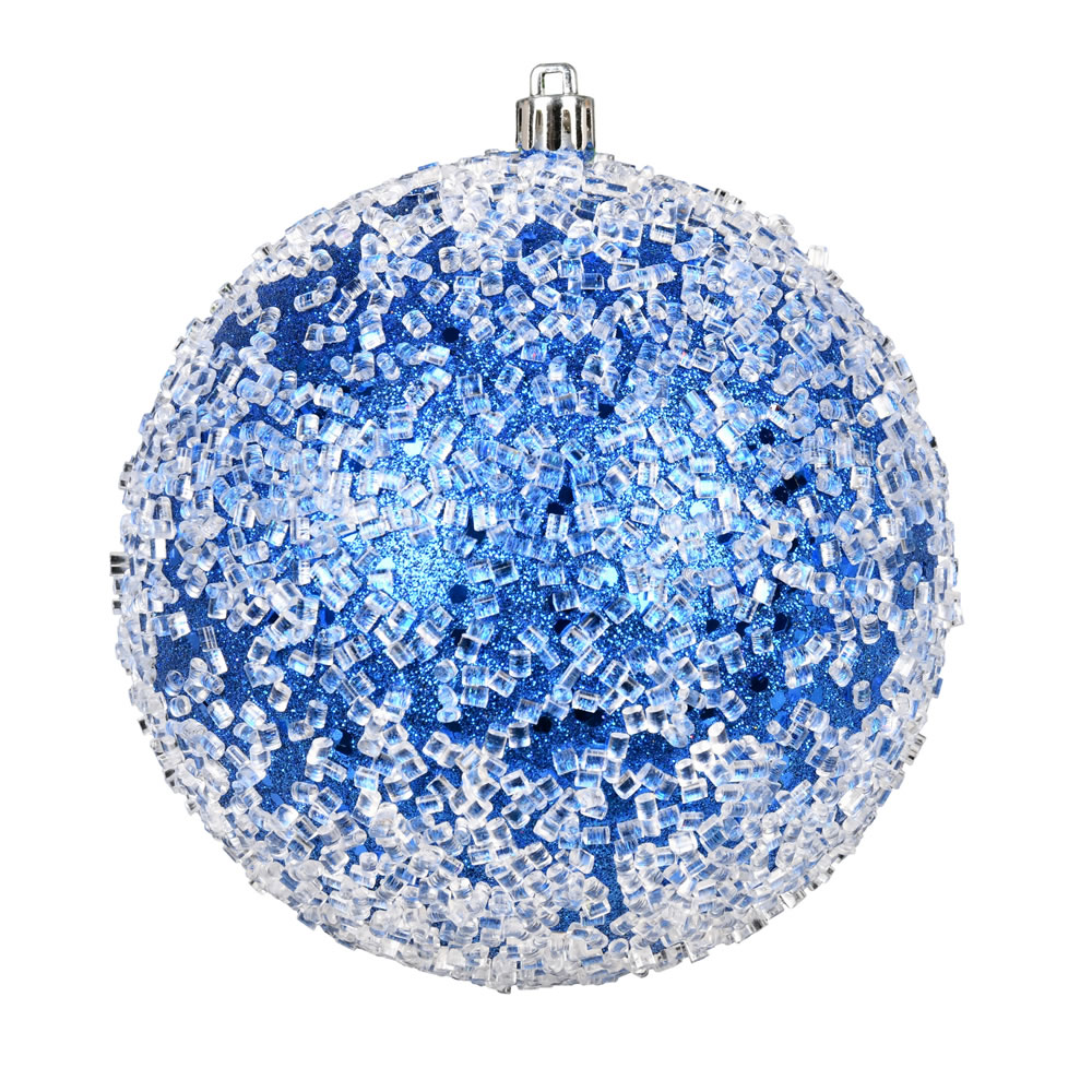 10 Inch Blue Glitter Hail Christmas Ball Ornament