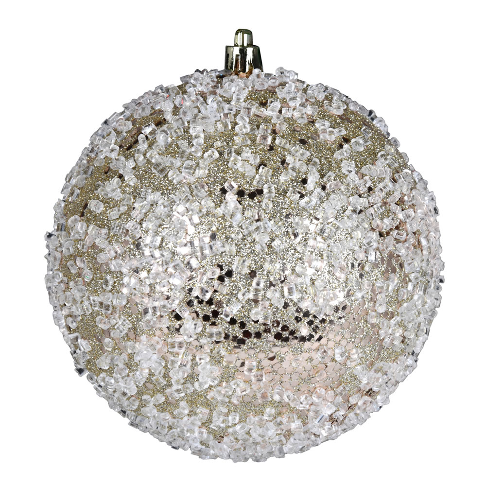 10 Inch Champagne Glitter Hail Christmas Ball Ornament
