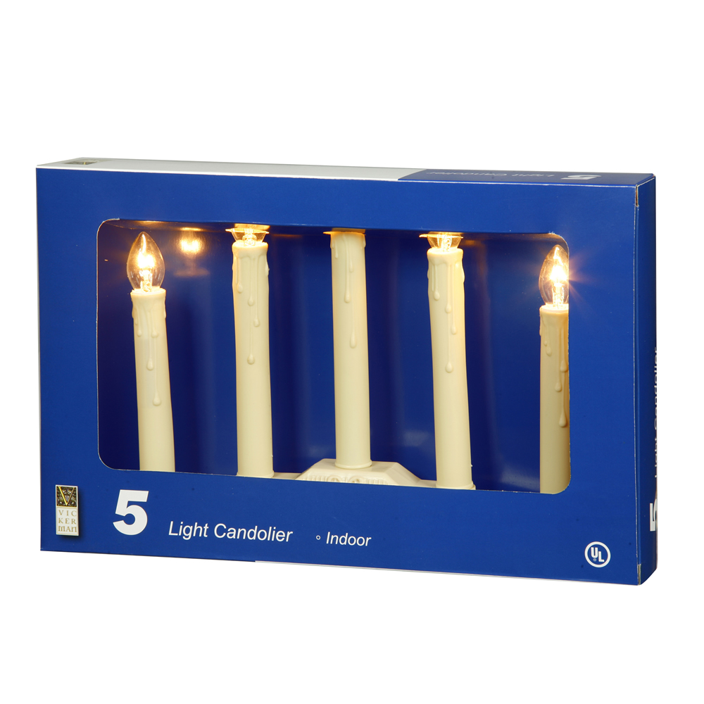 5 Ivory Candolier C7 Incandescent Clear Novelty Lights with Ivory Cord