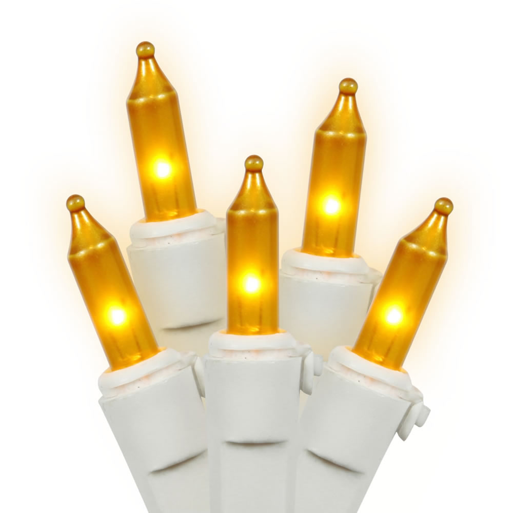 50 Gold Incandescent Mini Light Set with White Wire