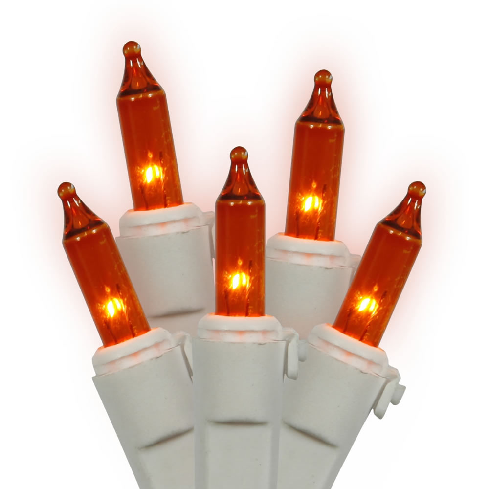 100 Amber Incandescent Mini Light Set with White Wire