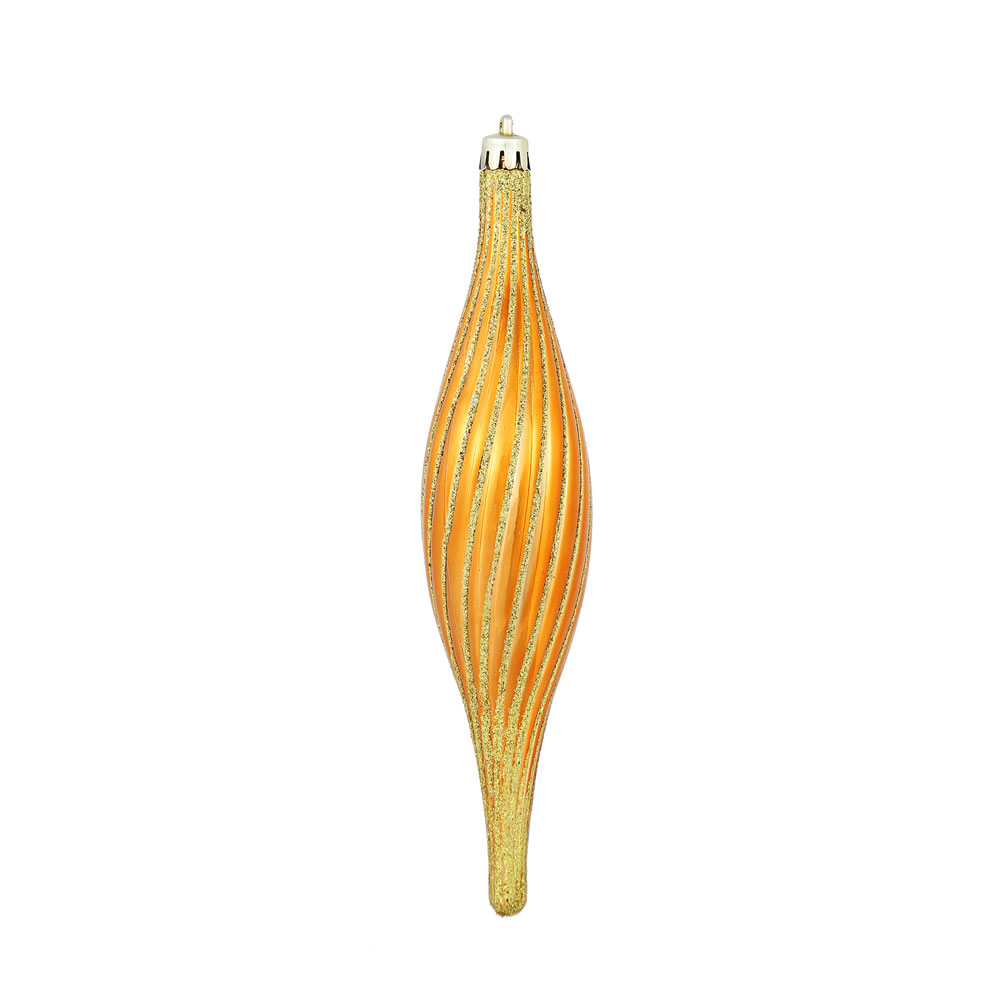 10 Inch Burnished Orange Glittered Spiral Christmas Ornament Shatterproof
