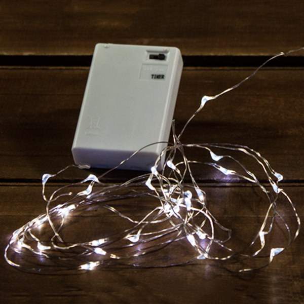 50 Battery Operated LED Micro Fairy Angel Teardrop Cool White Silver Wire Christmas Light Set with Timer Box of 6