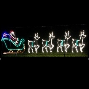 Santa Claus Christmas Eve LED Lighted Outdoor Commercial Christmas Decoration