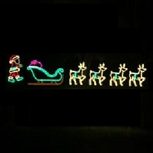 Santa Claus Walking to Sleigh and Reindeer Animated LED Lighted Outdoor Commercial Christmas Decoration