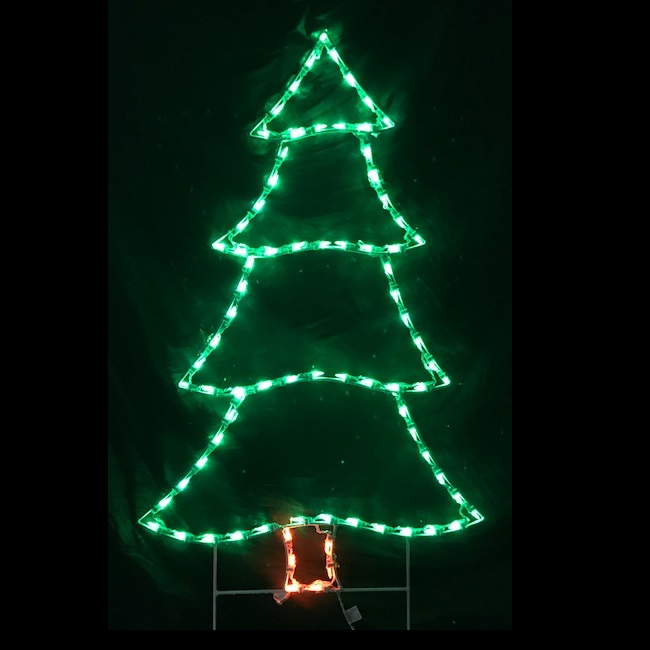 Christmas Pine Tree LED Lighted Outdoor Decoration - Artificial Christmas Trees, Christmas Lights, Christmas