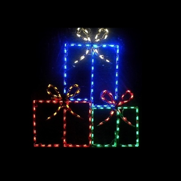gift box trio led lighted outdoor christmas decoration - Lighted Gift Boxes Christmas Decorations