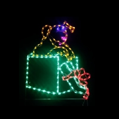 Puppy Dog in Christmas Gift LED Lighted Outdoor Christmas Decoration