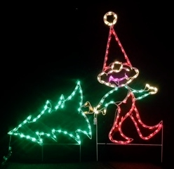 Elf Pulling Christmas Tree LED Lighted Outdoor Christmas Decoration