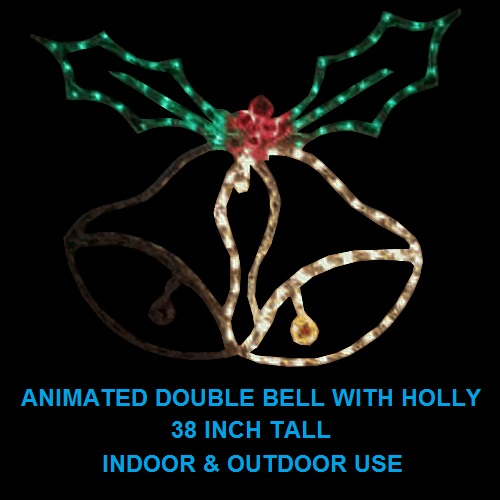Double Bell with Holly Animated LED Lighted Outdoor Christmas Decoration