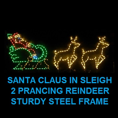 Santa Claus in Sleigh with Prancing Reindeer LED Lighted Outdoor Christmas Decoration