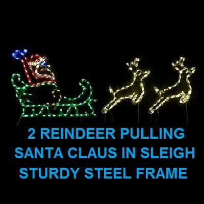 Santa Claus in Sleigh with Reindeer LED Lighted Outdoor Christmas Decoration