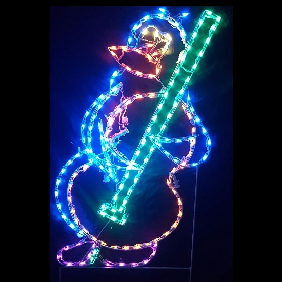Penguin Playing Bass Animated LED Lighted Outdoor Christmas Decoration