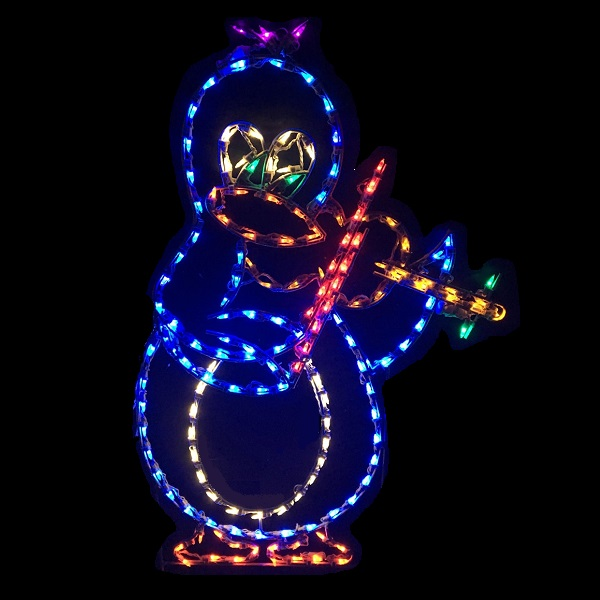 Penguin Playing Violin Animated LED Lighted Outdoor Christmas Decoration