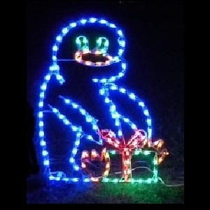 Penguin with Christmas Present LED Lighted Outdoor Christmas Decoration