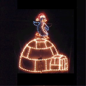 Penguin Dancing on Igloo Animated LED Lighted Outdoor Christmas Decoration