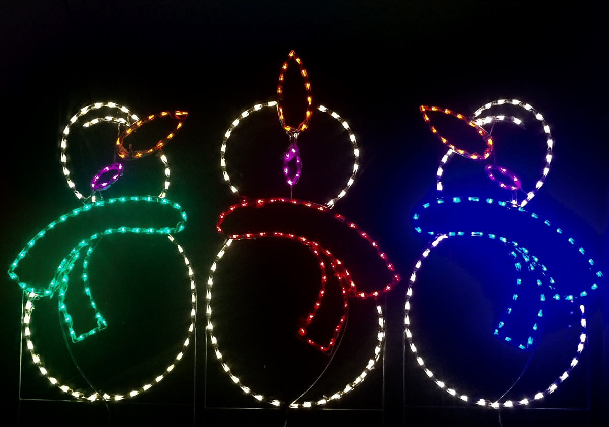 Trio of Caroling Snowmen LED Lighted Outdoor Christmas Decoration