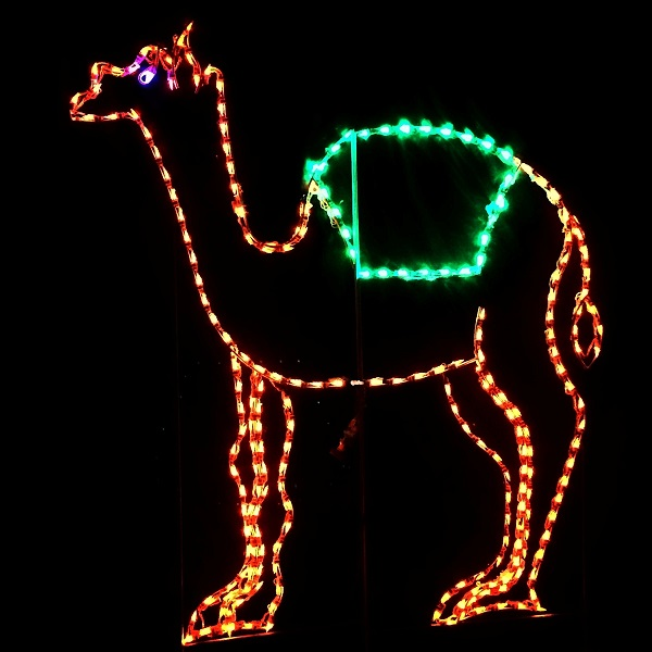 Camel Standing Multi Color LED Lighted Lawn Decoration