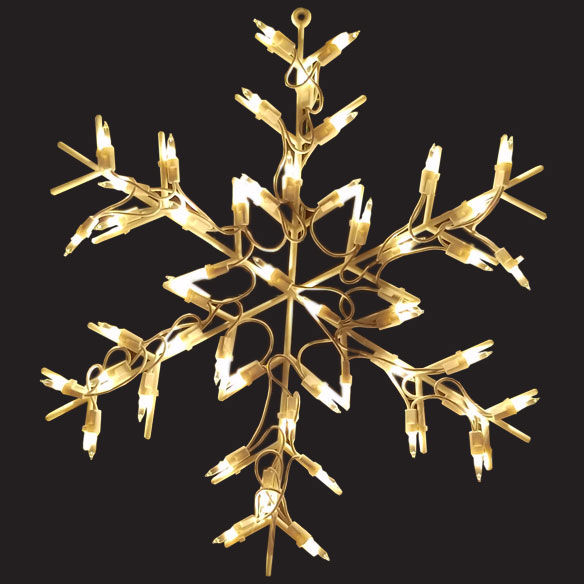 Snowflake Lighted Window Christmas Decoration 50 Incandescent Mini Bulbs