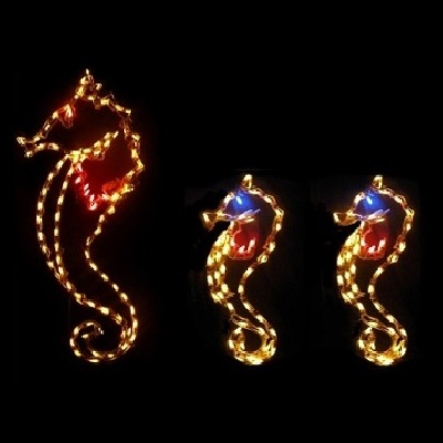 Sea Horses LED Lighted Outdoor Marine Decoration