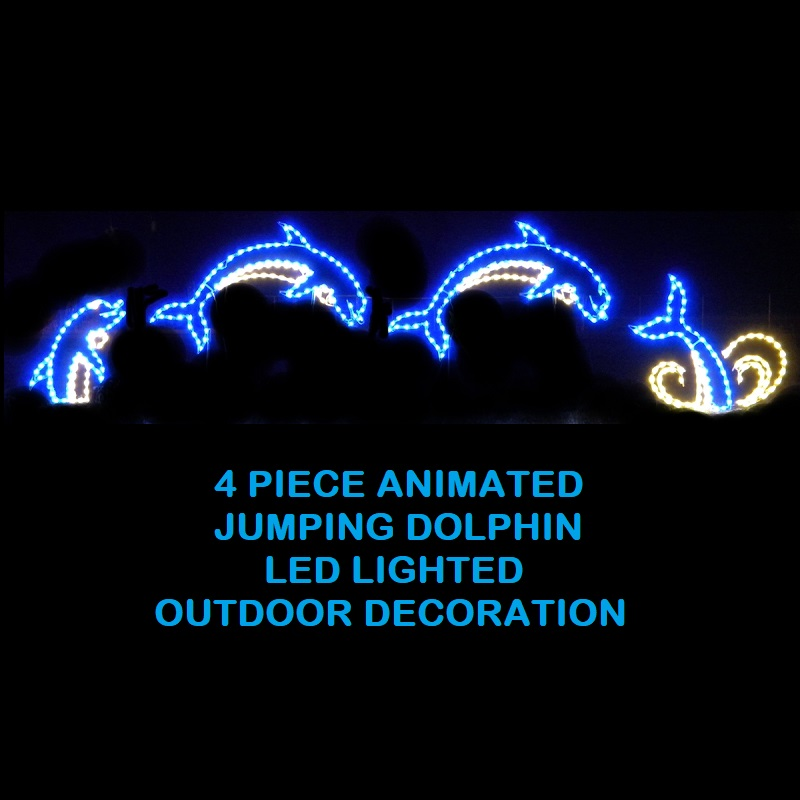 Dolphins Jumping 4 Piece Animated LED Lighted Outdoor Marine Decoration