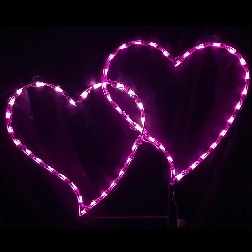 Double Heart LED Lighted Outdoor Valentines Day Decoration