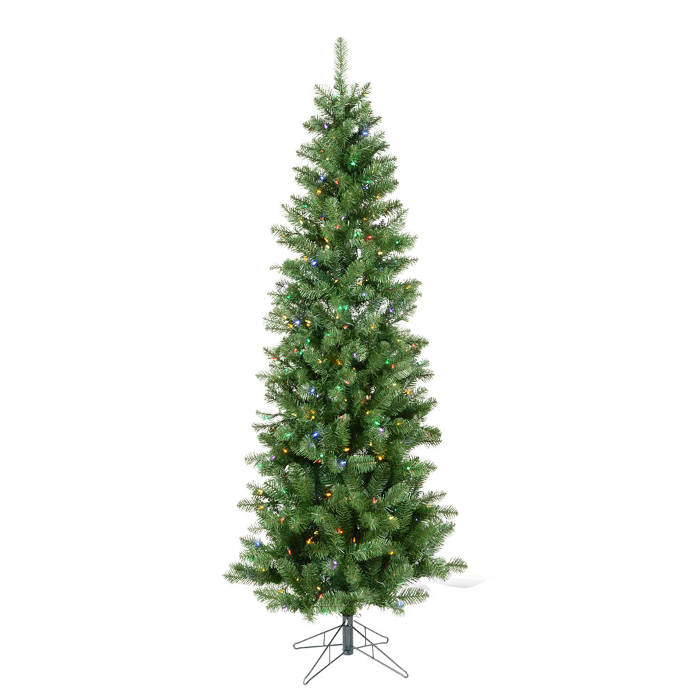 7.5 Foot Salem Pencil Pine Artificial Christmas Tree 300 DuraLit LED M5 Italian Multi Color Mini Lights