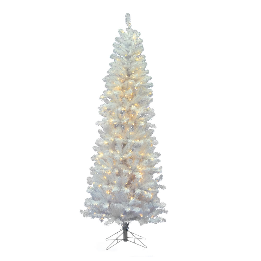 6.5 Foot White Salem Pencil Pine Artificial Christmas Tree 200 LED Warm White Lights