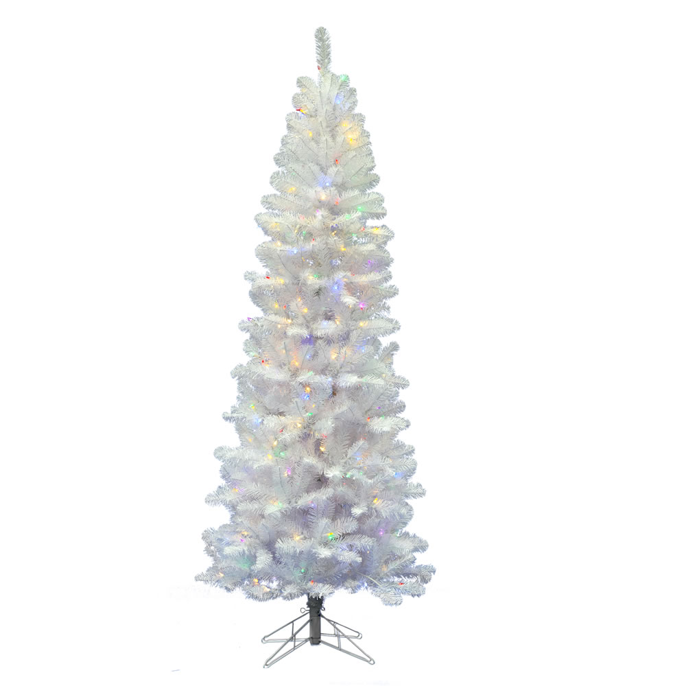 6.5 Foot White Salem Pencil Pine Artificial Christmas Tree 200 LED Multi Lights