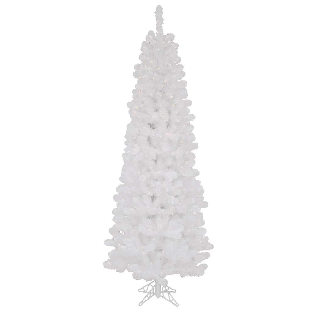 7.5 Foot White Salem Pencil Pine Artificial Christmas Tree 350 DuraLit Clear Lights