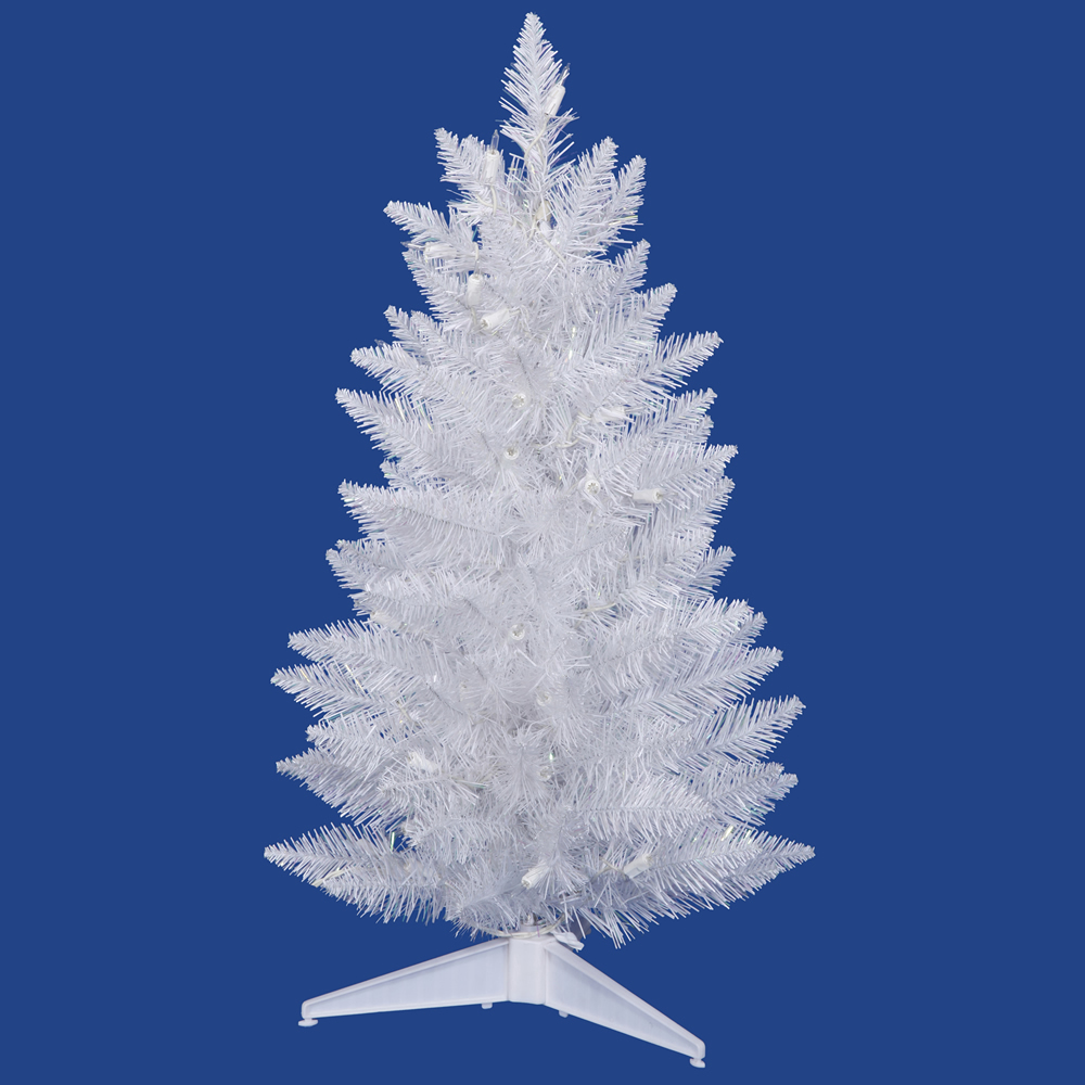 2.5 Foot Sparkle White Pencil Spruce Artificial Christmas Tree 50 DuraLit Incandescent Clear Mini Lights