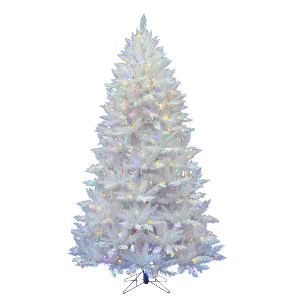 7.5 Foot Sparkle White Spruce Artificial Christmas Tree 550 DuraLit LED M5 Italian Frosted Multi Color Mini Lights