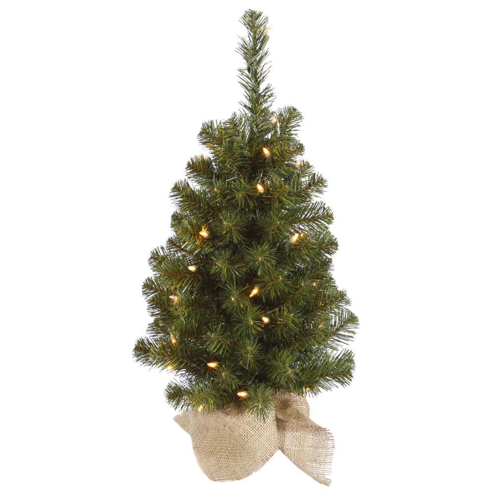 2 Foot Felton Pine Artificial Christmas Tree - 35 Incandescent Clear Mini Lights