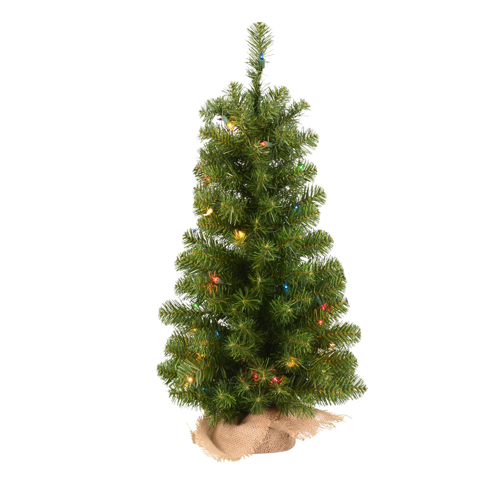 3.5 Foot Felton Pine Artificial Christmas Tree 100 Incandescent Multi Color Mini Lights
