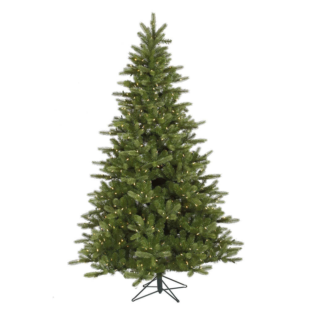 9 Foot King Spruce Artificial Christmas Tree 850 DuraLit LED M5 Italian Warm White Mini Lights