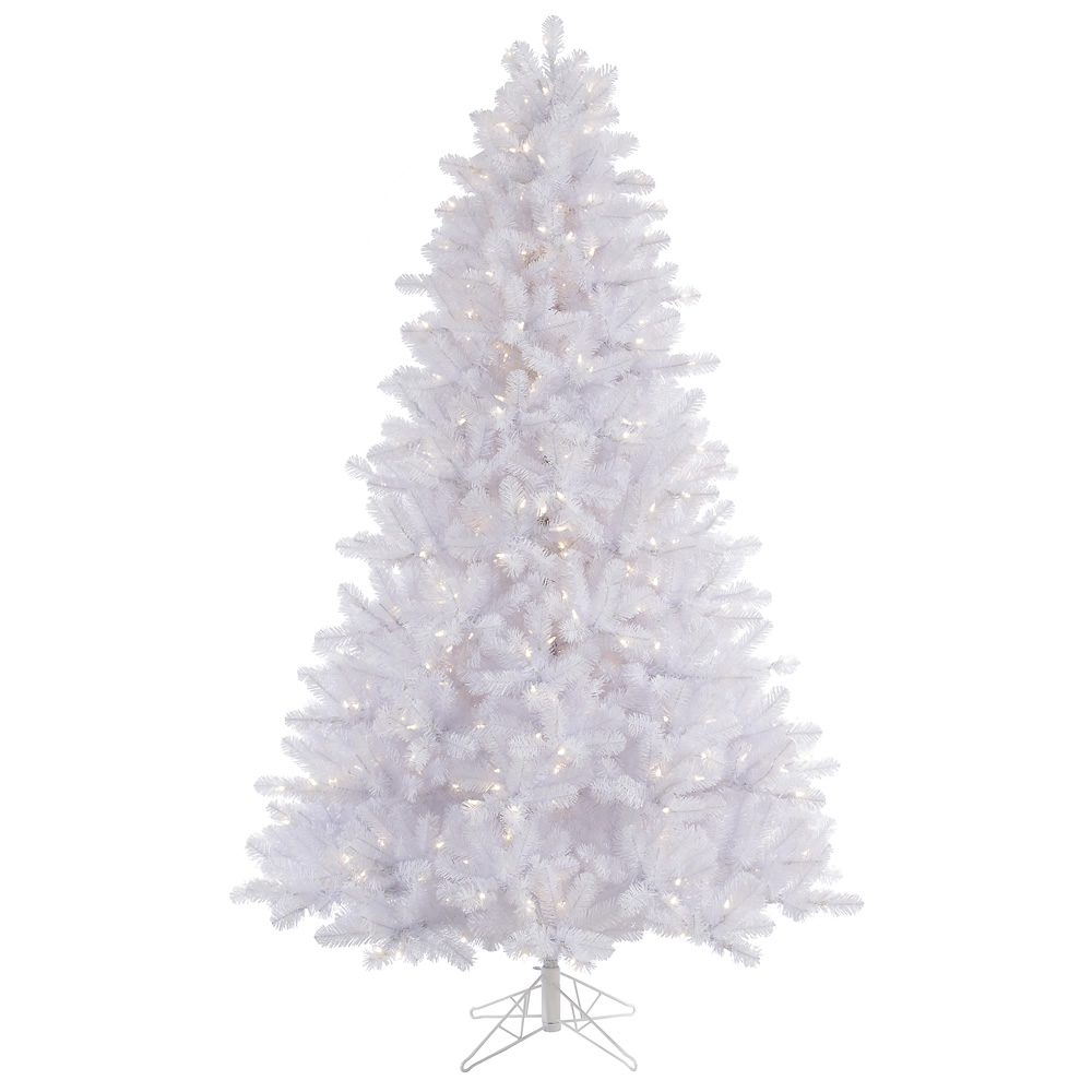 6.5 Foot Crystal White Pine Artificial Christmas Tree 550 DuraLit LED M5 Italian Warm White Mini Lights