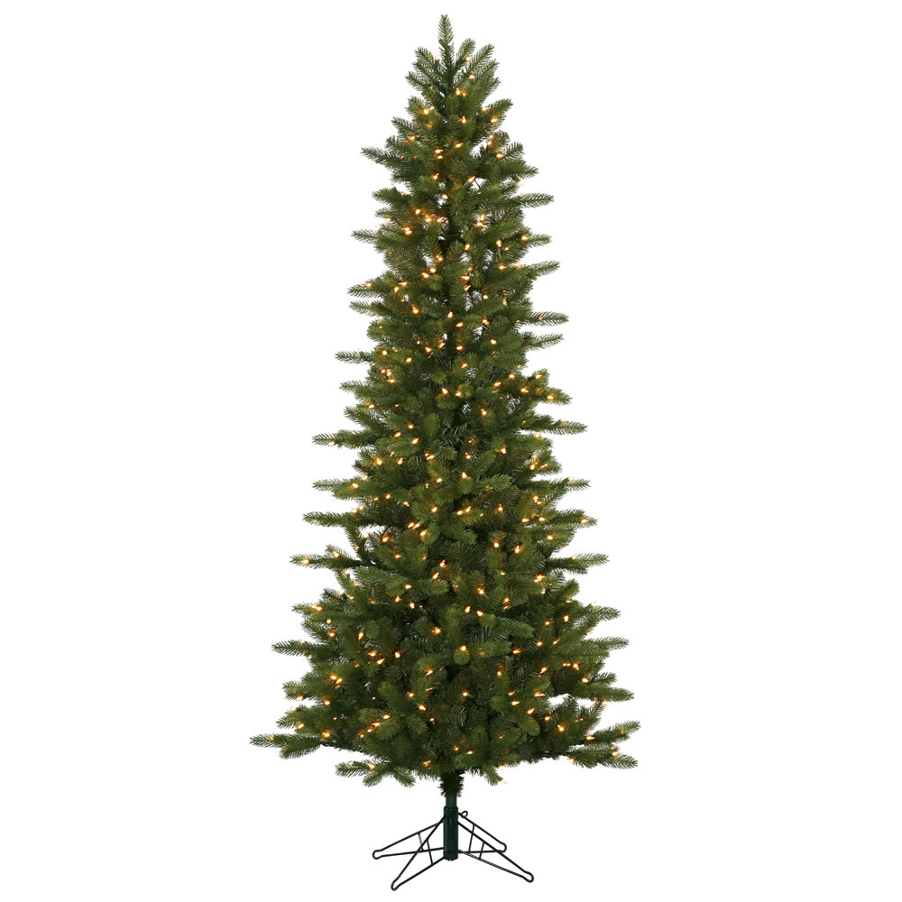 7.5 Foot Kennedy Fir Slim Artificial Christmas Tree 500 DuraLit Incandescent Clear Mini Lights