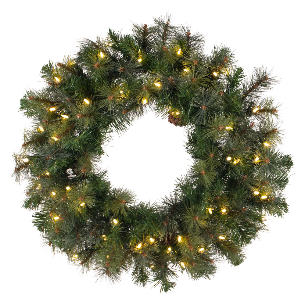 36 Inch Modesto Mixed Pine Wreath 100 DuraLit Incandescent Clear Mini Lights