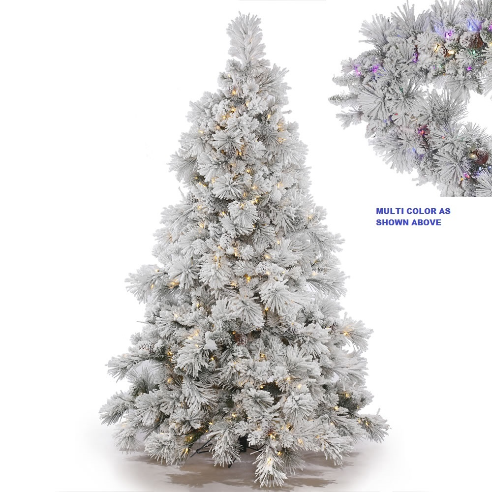 3.5 Foot Flocked Alberta Pine Artificial Christmas Tree 150 LED M5 Italian Multi Color Mini Lights