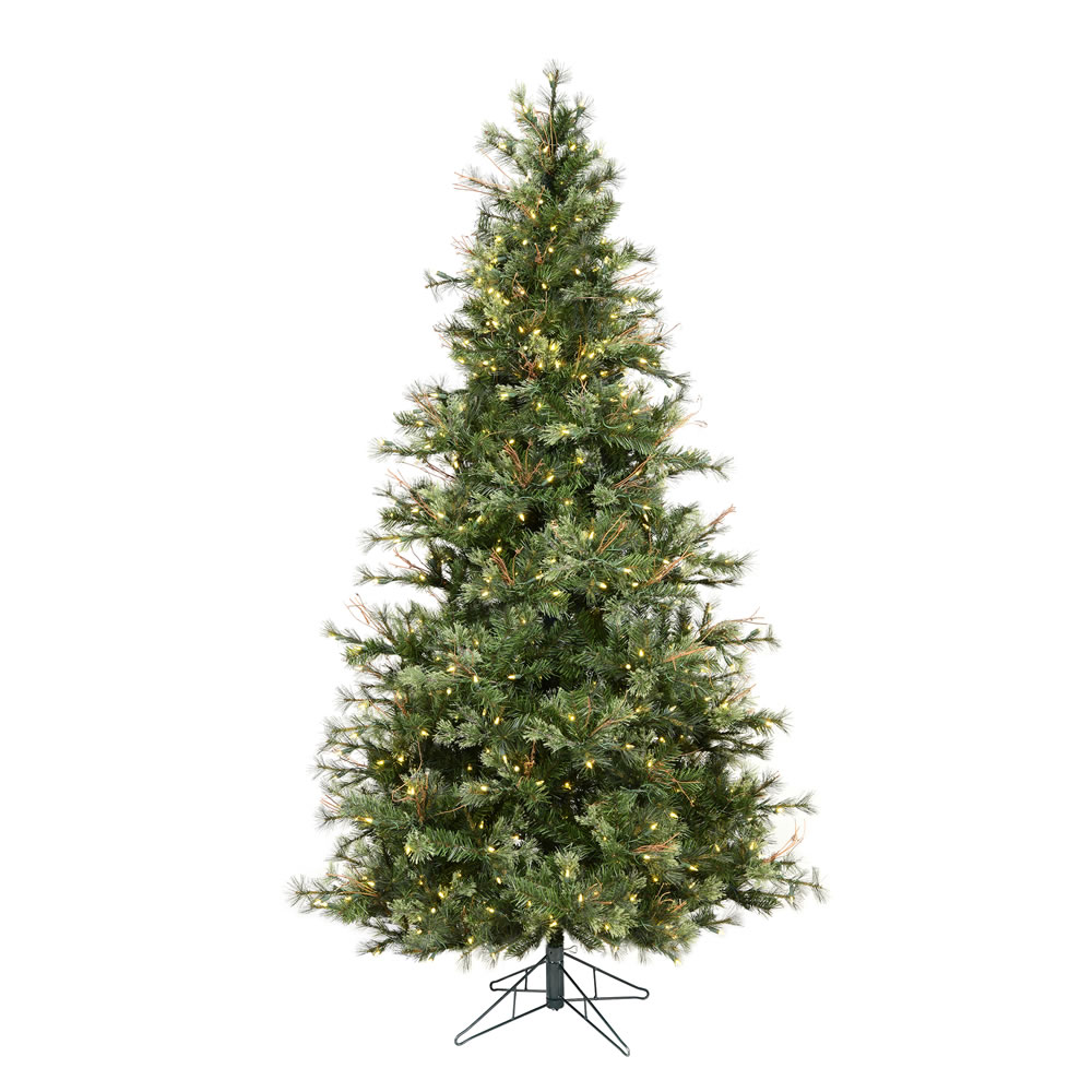 6.5 Foot Mixed Country Pine Slim Artificial Christmas Tree 500 LED M5 Italian Warm White Mini Lights