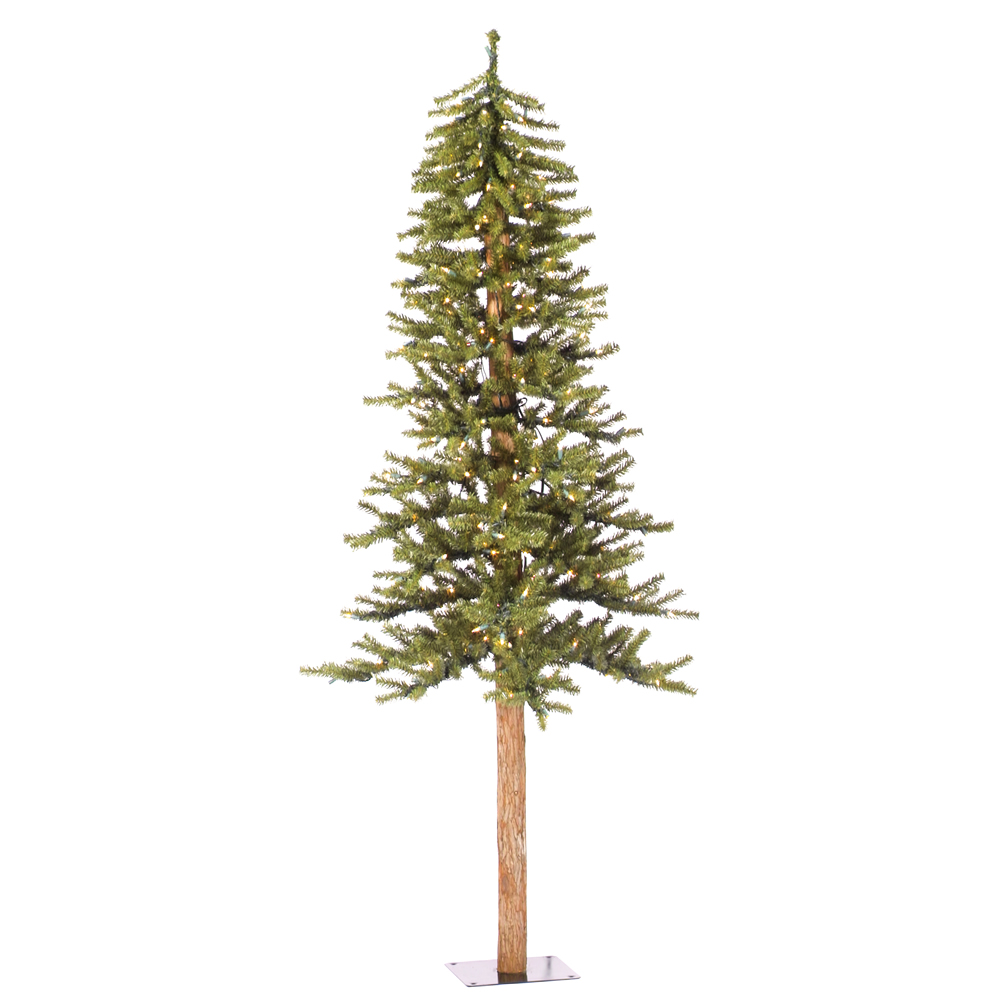 6 Foot Natural Alpine Artificial Christmas Tree 250 Incandescent Clear Mini Lights