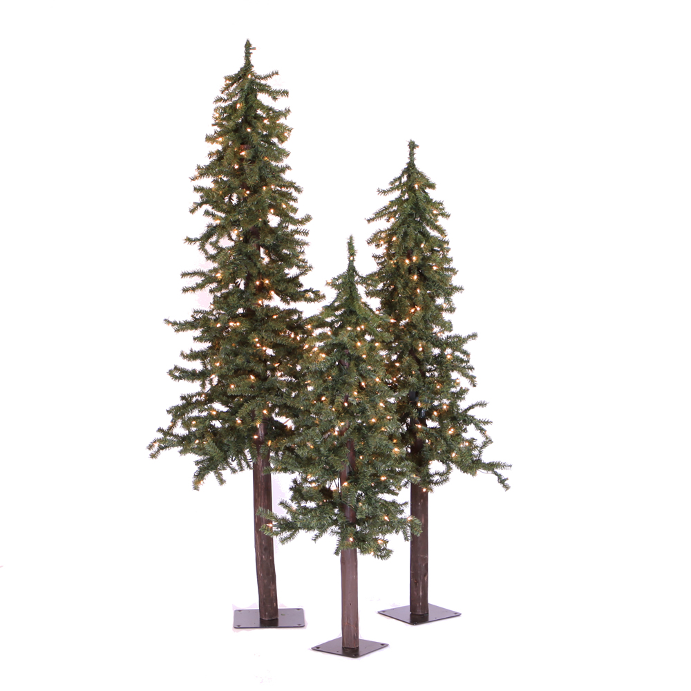 Natural Alpine Artificial Christmas Tree - 205 Incandescent Clear Mini Lights - Small Set of 3