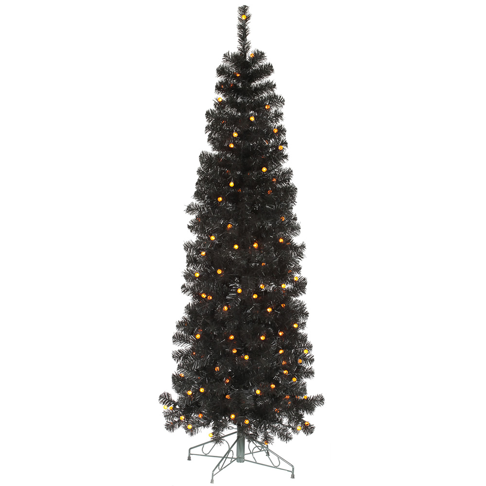 9 Foot Black Pencil Pine Artificial Halloween Tree 400 LED G12 Orange Globe Lights
