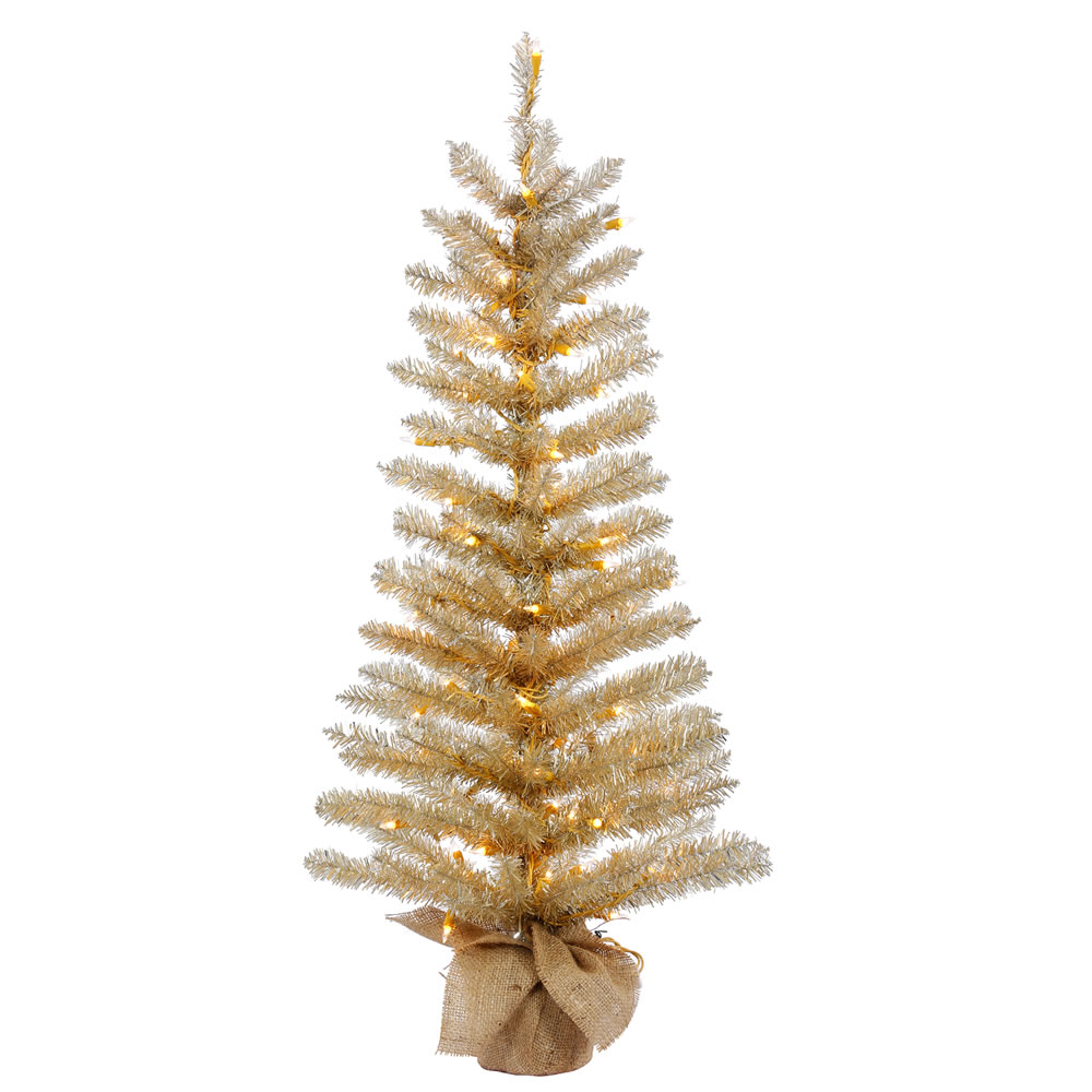 2.5 Foot Champagne Tinsel Artificial Christmas Tree 50 Incandescent Clear Mini Lights