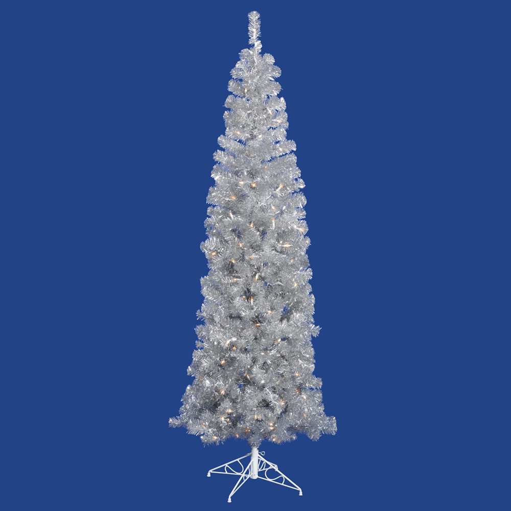 7.5 Foot Silver Pencil Artificial Christmas Tree 400 DuraLit Incandescent Clear Mini Lights