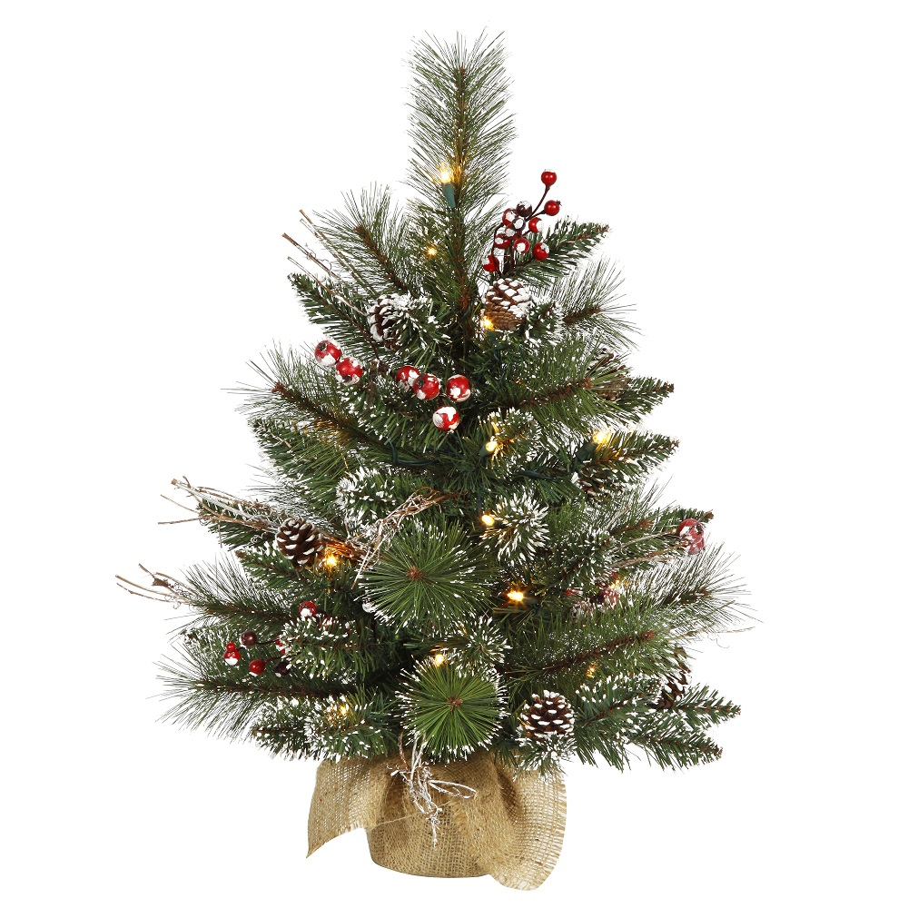2 Foot Snow Tipped Pine and Berry Artificial Christmas Tree 35 DuraLit LED M5 Italian Warm White Mini Lights