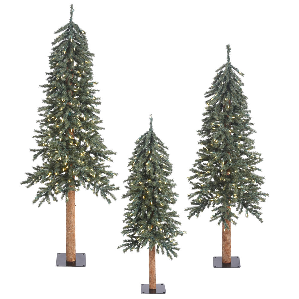 3 Piece Natural Alpine Artificial Christmas Tree Set 500 Clear Lights Metal Stand