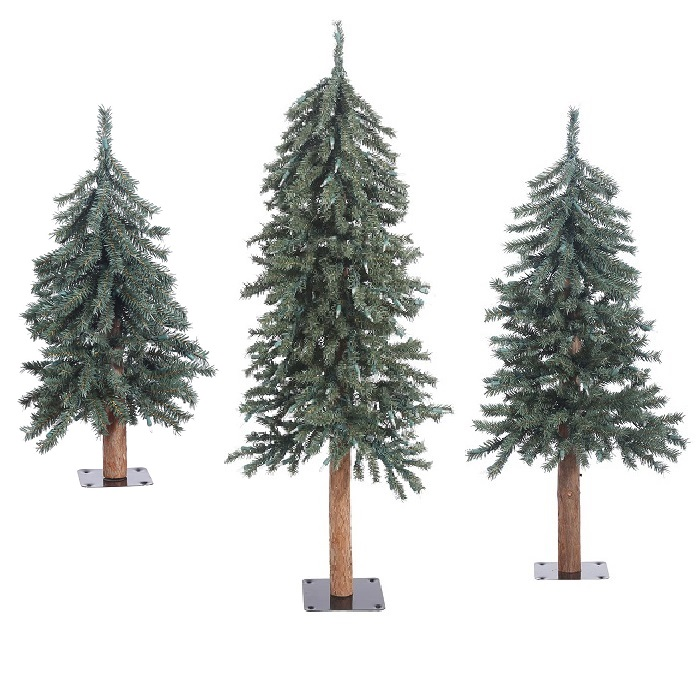 natural bark alpine artificial christmas tree unlit small set of 3