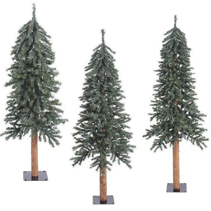 Natural Bark Alpine Artificial Christmas Tree - Unlit - Large Set of 3