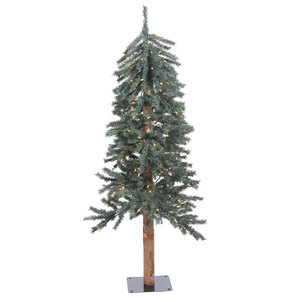 4 Foot Natural Bark Alpine Artificial Christmas Tree - 100 DuraLit Incandescent Clear Mini Lights